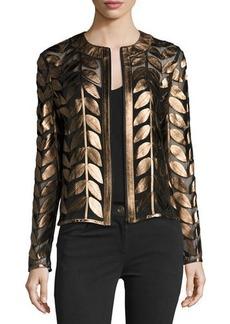 Neiman Marcus Metallic Leather Leaf & Mesh Combo Jacket