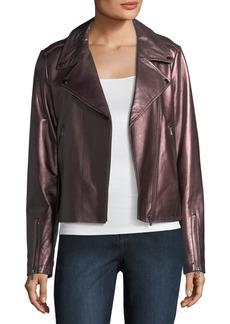 Neiman Marcus Metallic Leather Moto Jacket