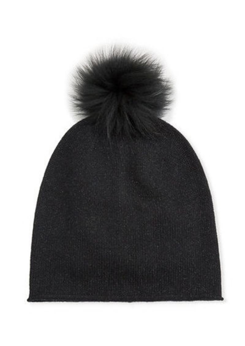 Neiman Marcus Metallic Slouch Beanie w/ Fur Pompom