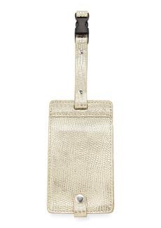 Neiman Marcus Metallic Snake-Embossed Luggage Tag  Gold