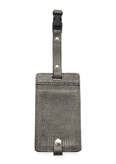 Neiman Marcus Metallic Snake-Embossed Luggage Tag