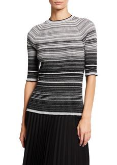 Neiman Marcus Metallic Stripe Elbow-Sleeve Cashmere Sweater