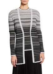Neiman Marcus Metallic Striped Cashmere Cardigan