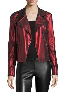 Neiman Marcus Metallic Suede Motorcycle Jacket