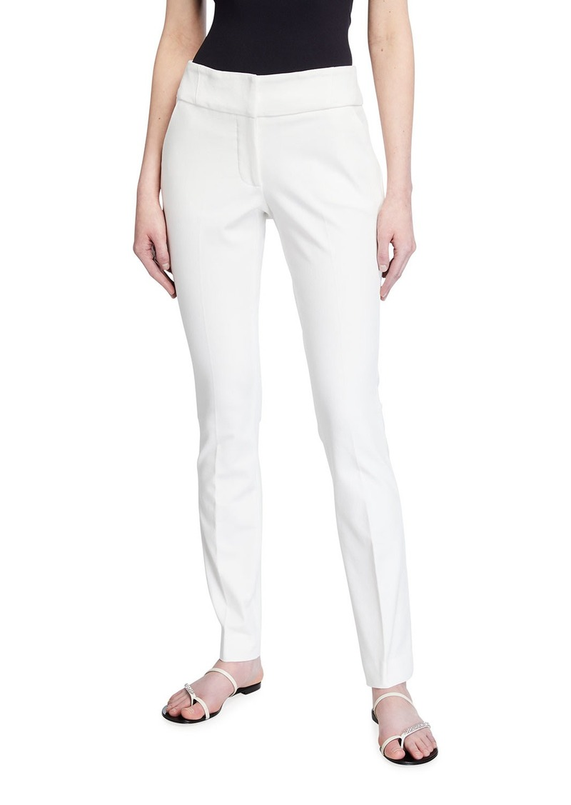 Neiman Marcus Mid-Rise Skinny-Leg Trousers