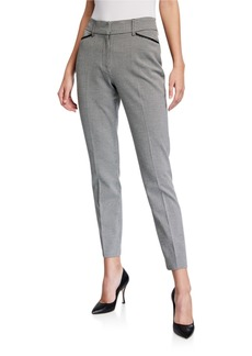 Neiman Marcus Mini Check Grosgrain Trim Pants