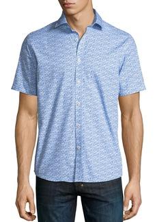 Neiman Marcus Mini Fish-Print Short-Sleeve Sport Shirt