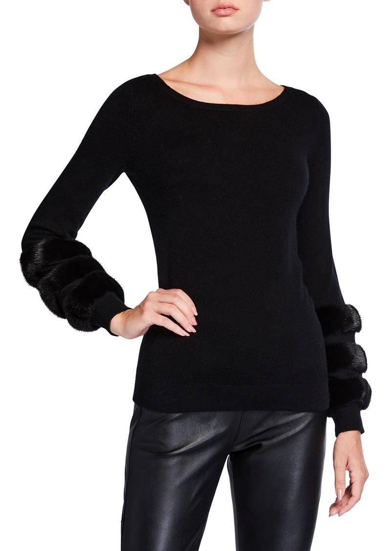 Neiman Marcus Mink Cuff Boat-Neck Cashmere Sweater
