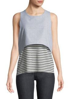 Neiman Marcus Mixed-Media Layered Sleeveless Striped Tee