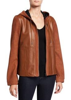 Neiman Marcus Mixed-Media Zip-Front Leather Hoodie Jacket