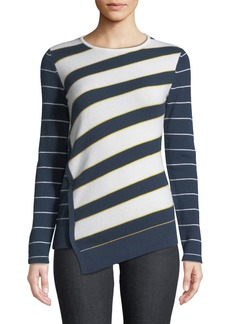 Neiman Marcus Mixed-Stripe Asymmetrical Crewneck Sweater