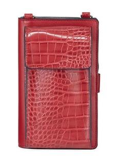 Neiman Marcus Mock-Croc Crossbody Cell Phone Wallet Bag