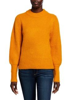 Neiman Marcus Mock-Neck Bishop-Sleeve Sweater