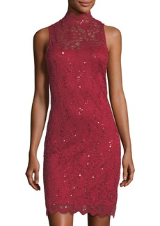 Neiman Marcus Mock-Neck Lace Cocktail Sheath Dress