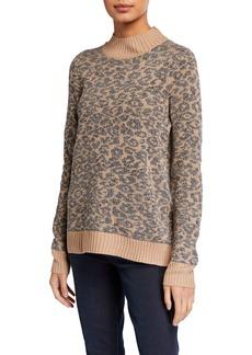 Neiman Marcus Mock-Neck Leopard Chenille Sweater