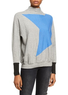 Neiman Marcus Mock-Neck Star Graphic Pullover