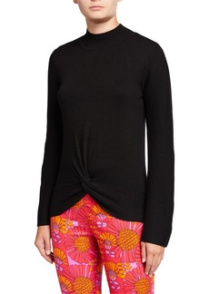 Neiman Marcus Mock-Neck Sweater W Bell-Sleeves & Twisted Hem
