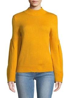 Neiman Marcus Mock-Neck Sweater W/ Novelty Sleeves