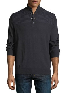 Neiman Marcus Mock-Neck Wool-Blend Sweater
