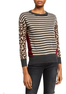 Neiman Marcus Multi Media Crewneck Pullover Sweater