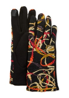 Neiman Marcus Multicolor Abstract Embroidered Yarn Text Gloves