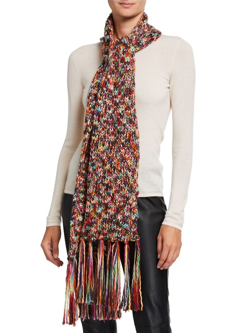 Neiman Marcus Multicolor Knit Scarf with Tassel Fringe