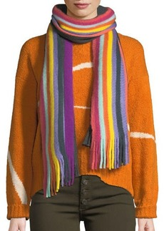 Neiman Marcus Multicolor Striped Fringe Scarf