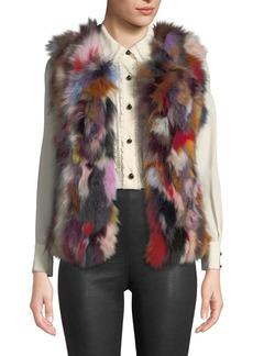Neiman Marcus Multicolored Fox Fur Vest