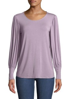 Neiman Marcus Mutton-Sleeve Scoop-Neck Tee