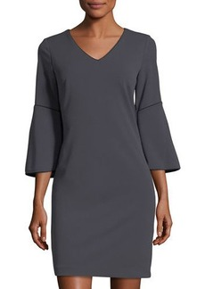 Neiman Marcus 3/4-Sleeve Contrast-Piped Dress