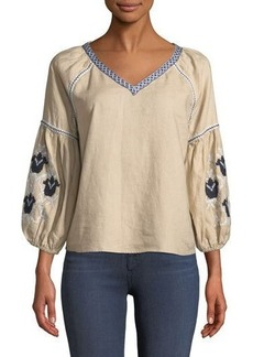 Neiman Marcus 3/4-Sleeve Embroidered Blouse