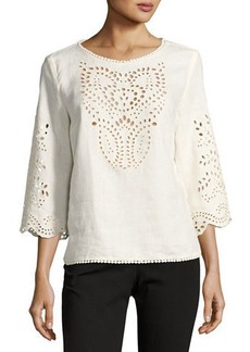 Neiman Marcus 3/4-Sleeve Embroidered Top
