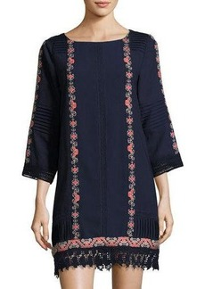 Neiman Marcus 3/4-Sleeve Embroidered Tunic