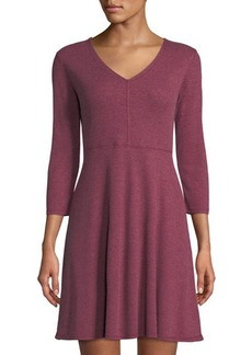 Neiman Marcus 3/4-Sleeve Fit-&-Flare Dress