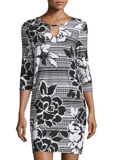 Neiman Marcus 3/4-Sleeve Floral-Print Caftan Shift Dress