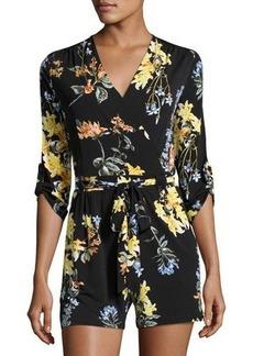 Neiman Marcus 3/4-Sleeve Floral-Print Romper