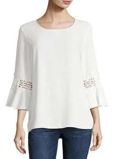 Neiman Marcus 3/4-Sleeve Jewel-Neck Blouse