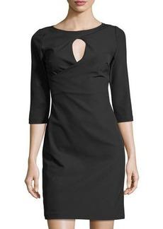 Neiman Marcus 3/4-Sleeve Keyhole Sheath Dress