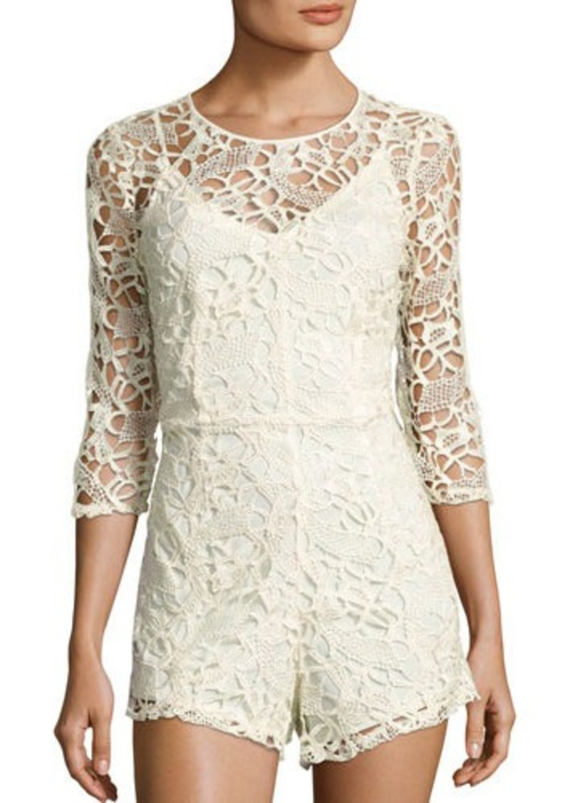 Neiman Marcus 3/4-Sleeve Lace Romper