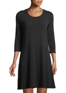 Neiman Marcus 3/4-Sleeve Laced-Back Swing Dress