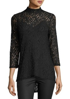 Neiman Marcus 3/4-Sleeve Mock-Neck Lace Top