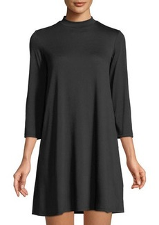 Neiman Marcus 3/4-Sleeve Mock-Neck Shift Dress