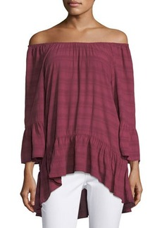 Neiman Marcus 3/4-Sleeve Off-the-Shoulder Peasant Top