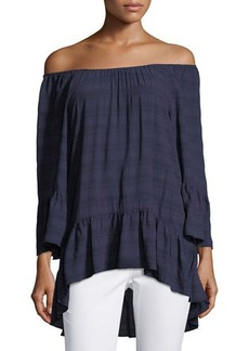 Neiman Marcus 3/4-Sleeve Off-the-Shoulder Peasant Top