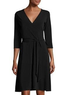 Neiman Marcus 3/4-Sleeve Perfect Wrap Dress