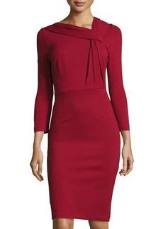 Neiman Marcus 3/4-Sleeve Pleat-Neck Sheath Dress