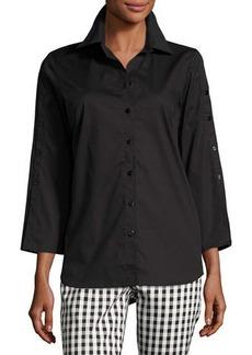 Neiman Marcus 3/4-Sleeve Poplin Tunic