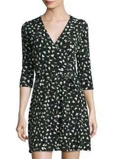 Neiman Marcus 3/4-Sleeve Printed Perfect Wrap Mini Dress