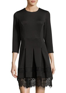 Neiman Marcus 3/4-Sleeve Round-Neck Lace-Trim Dress