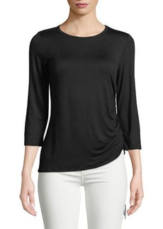 Neiman Marcus 3/4-Sleeve Ruched-Side Tee